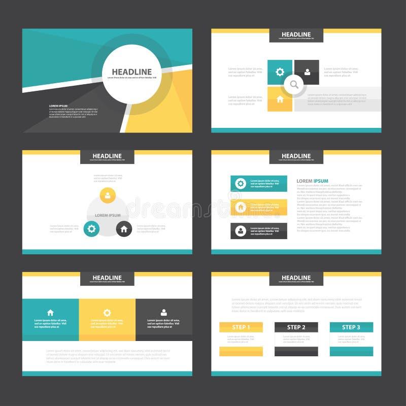 O projeto liso dos elementos amarelos verdes de Infographic dos moldes da apresentação ajustou-se para o mercado do folheto do in ilustração royalty free