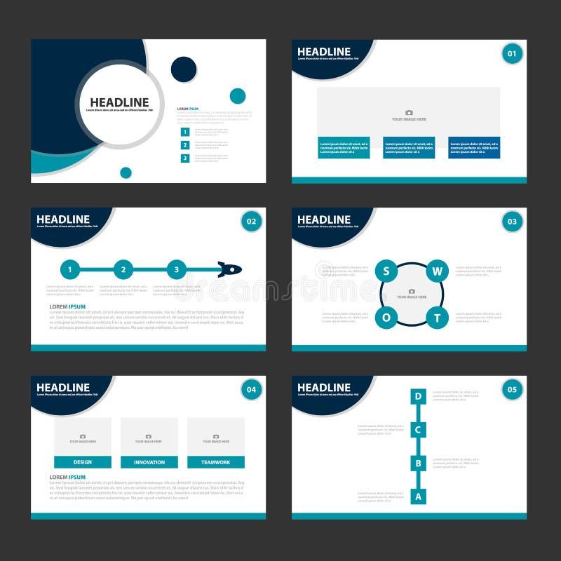 O projeto liso dos elementos azuis de Infographic dos moldes da apresentação do círculo ajustou-se para o mercado do folheto do i ilustração do vetor
