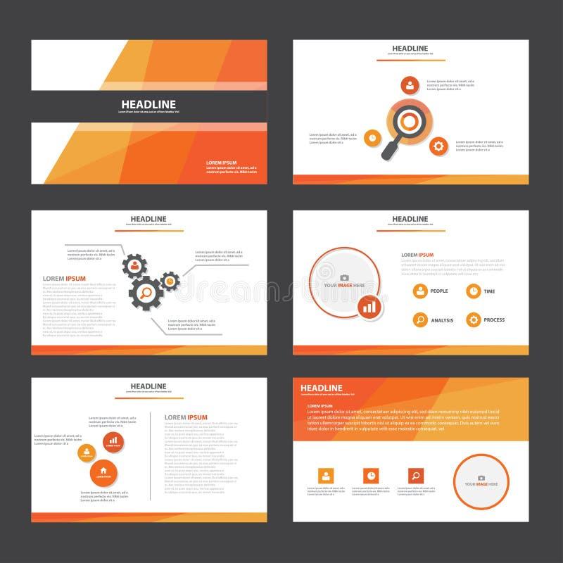 O projeto liso dos elementos de Infographic do molde da apresentação do sumário do vermelho alaranjado ajustou-se para o mercado  ilustração stock