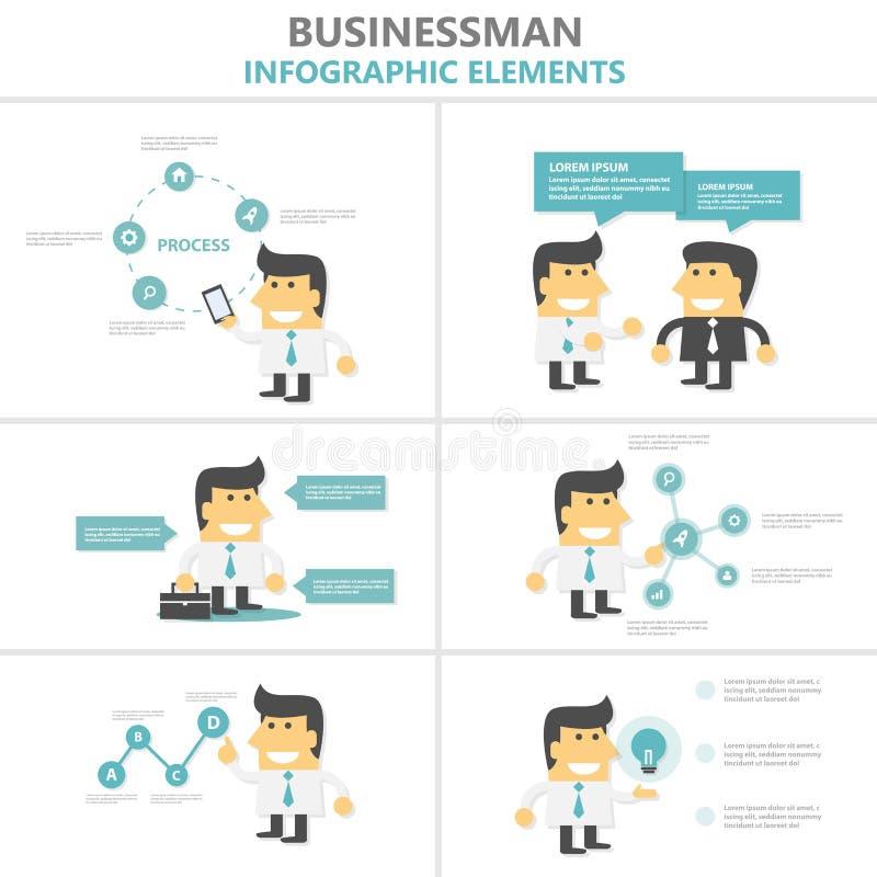 O projeto liso dos elementos de Infographic dos moldes da apresentação do homem de negócios ajustou-se para o mercado do folheto  ilustração do vetor