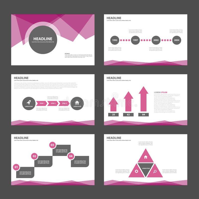 O projeto liso dos elementos pretos roxos de Infographic do molde da apresentação ajustou-se para a propaganda do mercado do folh ilustração do vetor
