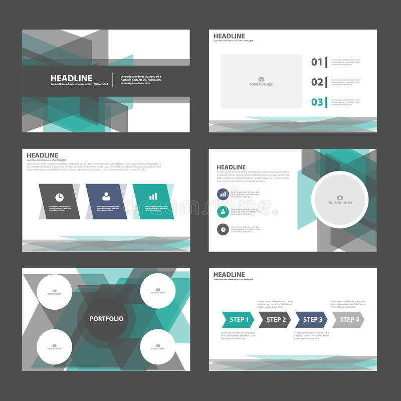 O projeto liso dos elementos pretos verdes abstratos de Infographic dos moldes da apresentação ajustou-se para o mercado do folhe ilustração do vetor