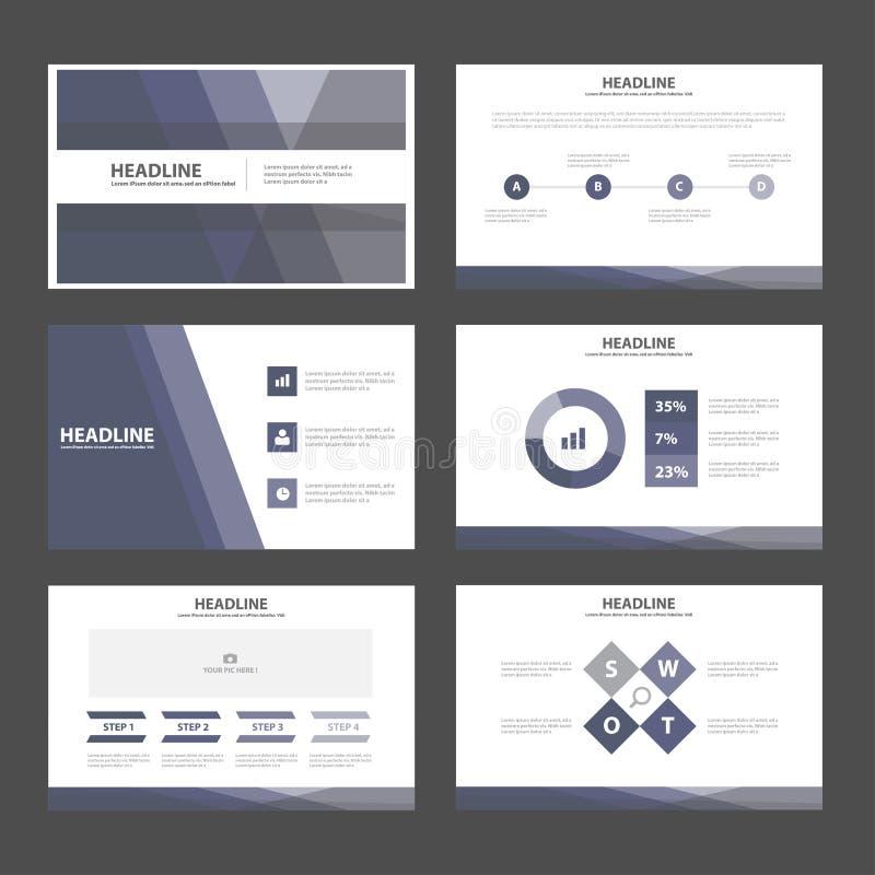 O projeto liso dos elementos roxos abstratos de Infographic dos moldes da apresentação ajustou-se para o mercado do folheto do in ilustração do vetor