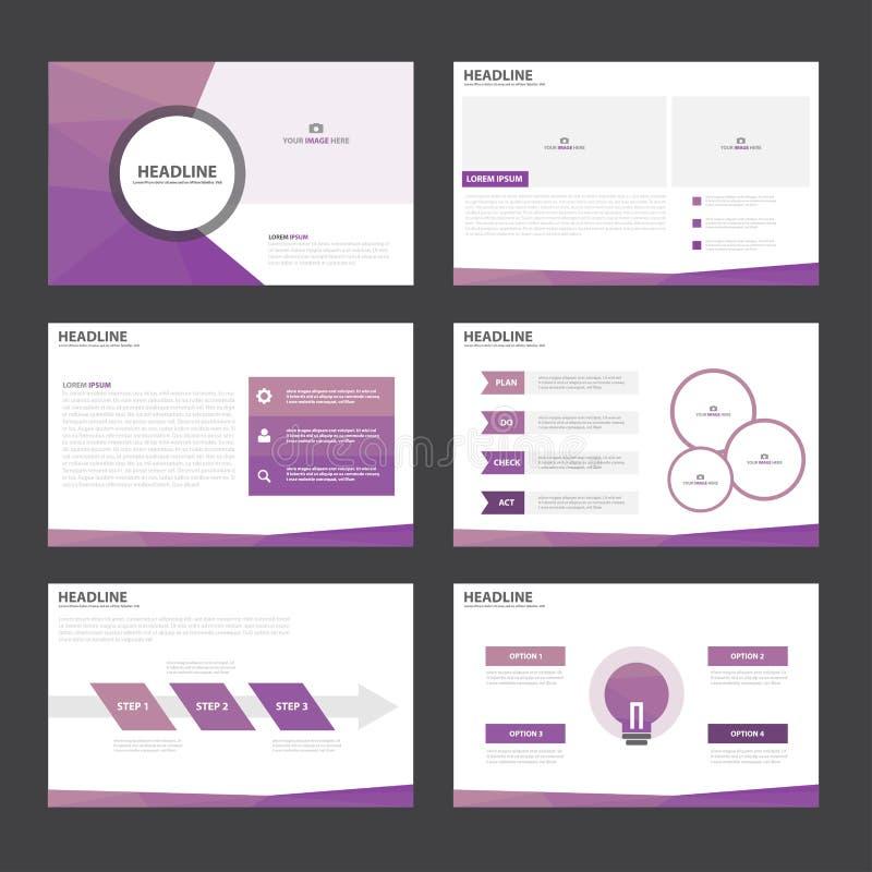 O projeto liso dos elementos roxos de Infographic dos moldes da apresentação do polígono ajustou-se para o mercado do folheto do  ilustração stock