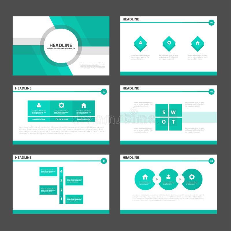 O projeto liso dos elementos verdes de Infographic dos moldes da apresentação do tom ajustou-se para o mercado do folheto do inse ilustração do vetor