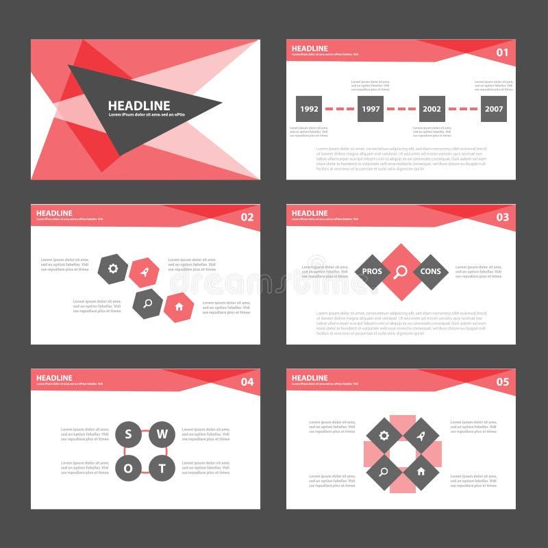 O projeto liso dos elementos vermelhos de Infographic do molde da apresentação ajustou-se para o mercado do folheto do inseto do  ilustração royalty free