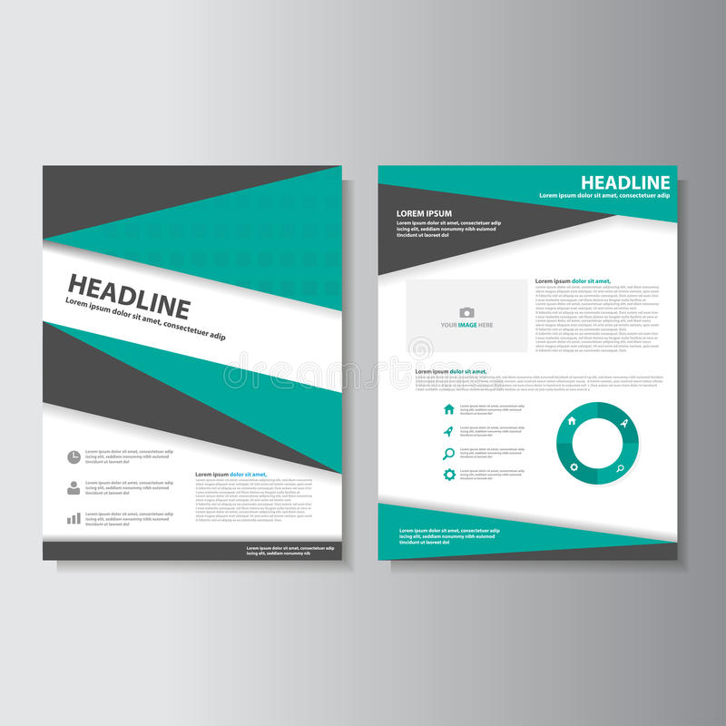 O projeto liso dos moldes pretos verdes da apresentação de Infographic do folheto do inseto do folheto ajustou-se para o mercado ilustração stock