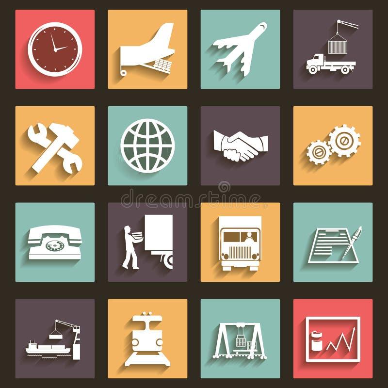O projeto liso dos símbolos dos ícones da expedição e do transporte denomina o vetor ilustração royalty free