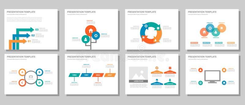 O projeto liso infographic de múltiplos propósitos alaranjado azul verde vermelho da apresentação e do elemento ajustou 2 ilustração royalty free