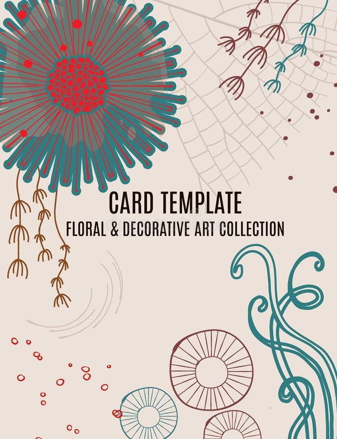 O projeto mágico floral do molde do cartão do convite do cumprimento, as folhas com círculos, as plantas e a mão tiradas rabiscam ilustração royalty free