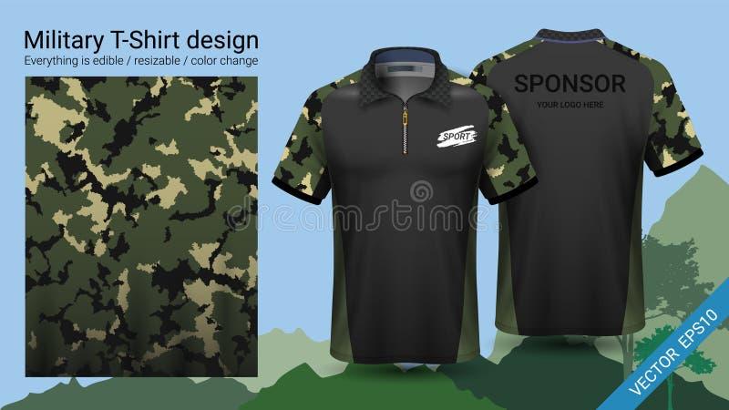 O projeto militar do t-shirt do polo, com cópia da camuflagem veste-se para a selva, caminhando trekking ou caçador, arquivo do v ilustração do vetor