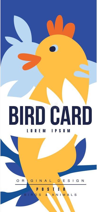 O projeto original do cartaz colorido do cartão, dos pássaros e dos animais do pássaro, pode ser usado para a bandeira, cartão, f ilustração royalty free