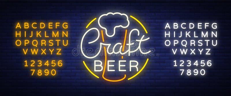 O projeto original do logotipo é um ofício da cerveja do néon-estilo para uma casa da cerveja, bar da barra, taberna da cervejari ilustração royalty free