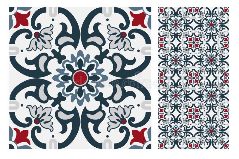 O projeto sem emenda português antigo do vintage modela telhas na ilustração do vetor ilustração royalty free
