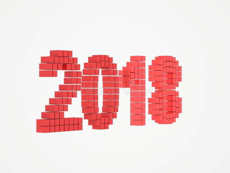 O projeto vermelho 3d do ano rende 2018 foto de stock
