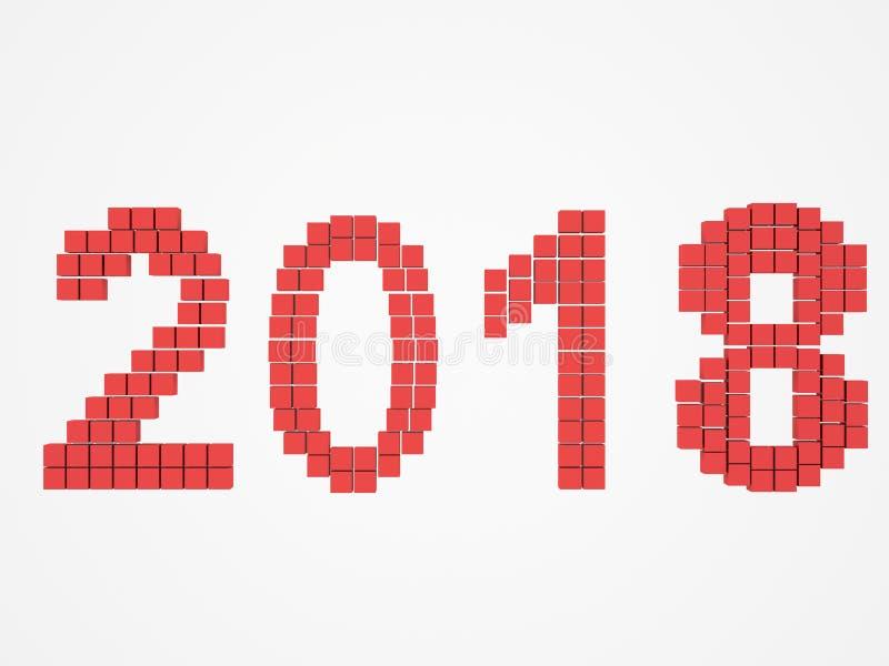 O projeto vermelho 3d do ano rende 2018 foto de stock royalty free