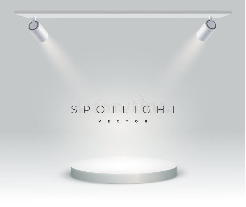 O projetor branco moderno brilha em um ângulo no ponto Pódio, suporte ou plataforma redonda iluminados por projetores no branco ilustração do vetor