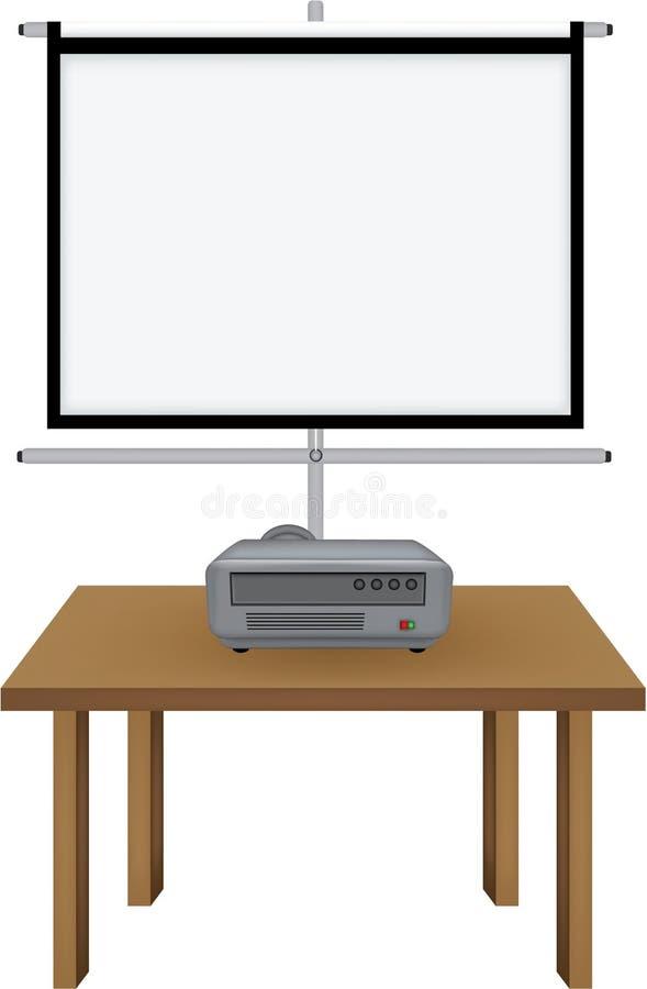 O projetor e projectorscreen ilustração do vetor