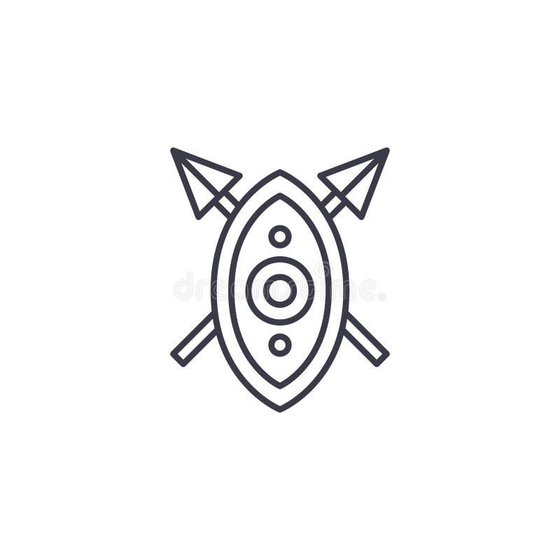 O protetor africano lanceia o conceito linear do ícone O protetor africano lanceia a linha sinal do vetor, símbolo, ilustração ilustração royalty free