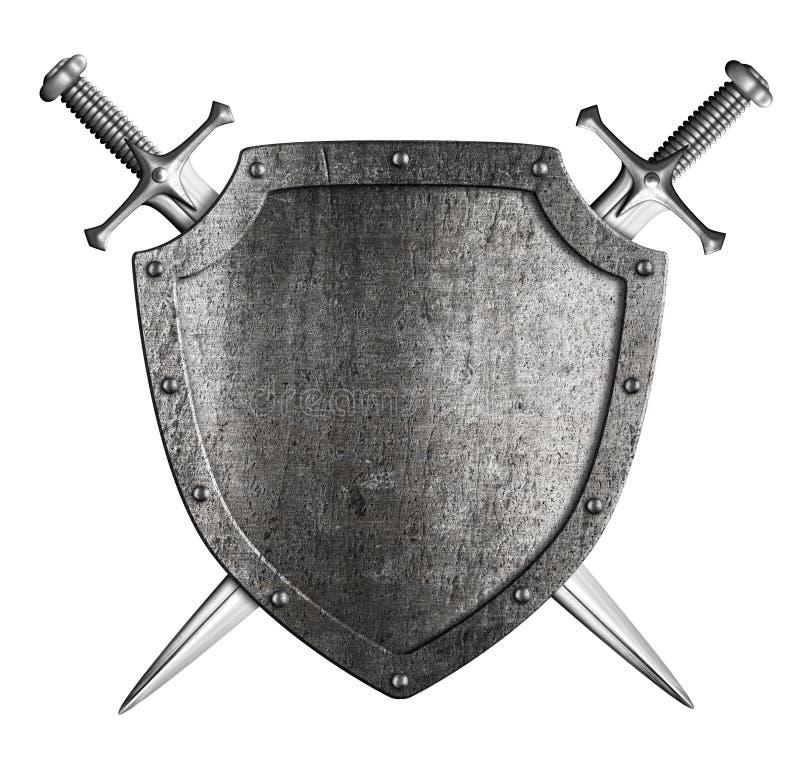 O protetor envelhecido do cavaleiro do metal com dois cruzou as espadas isoladas no branco ilustração royalty free