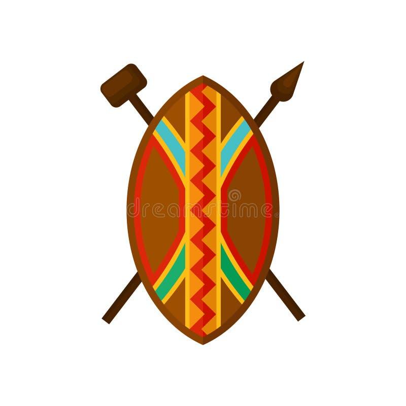 O protetor, a lança e o martelo africanos, símbolos autênticos de África com ornamento étnico vector a ilustração em um branco ilustração do vetor