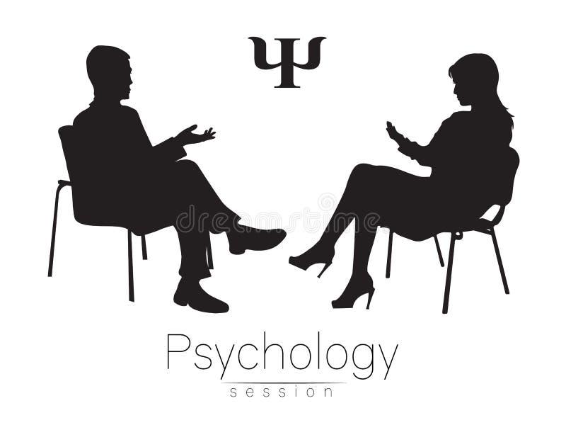 O psicólogo e o cliente psychotherapy Sessão terapêutica psicótico Assistência psicológica Fala da mulher do homem ilustração stock