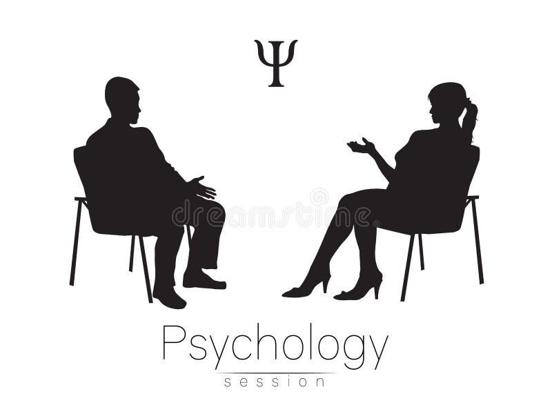 O psicólogo e o cliente Sessão da psicoterapia ilustração royalty free