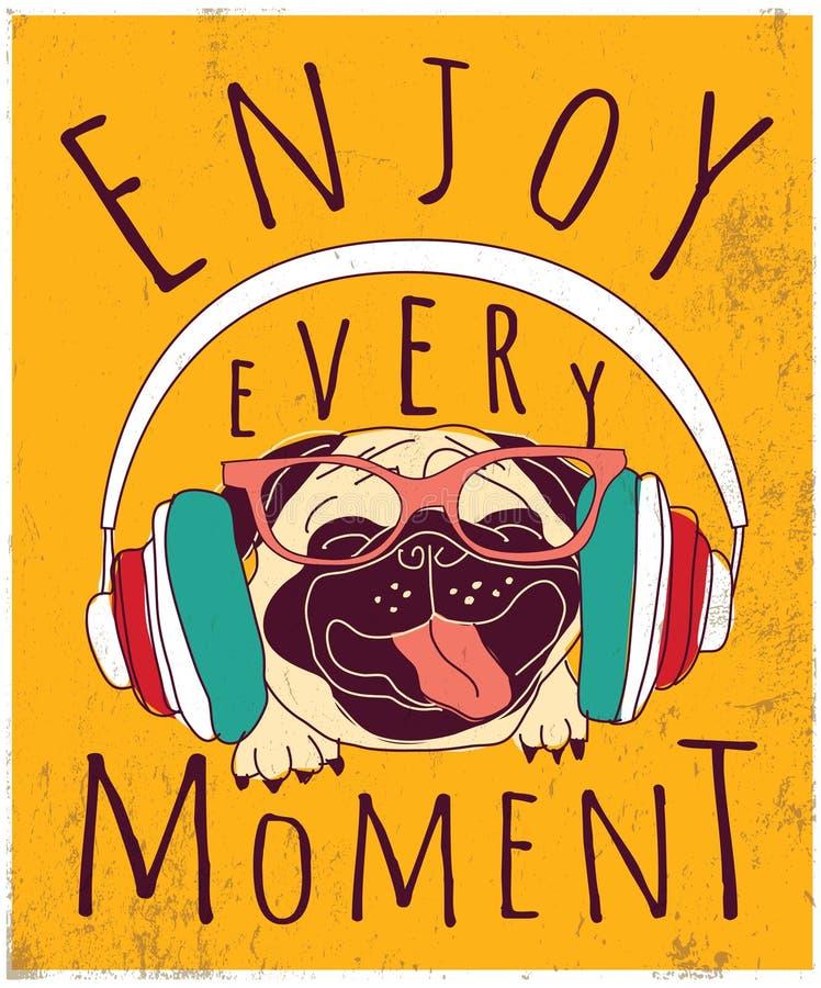O pug animal feliz aprecia o sinal do cartaz da música ilustração stock