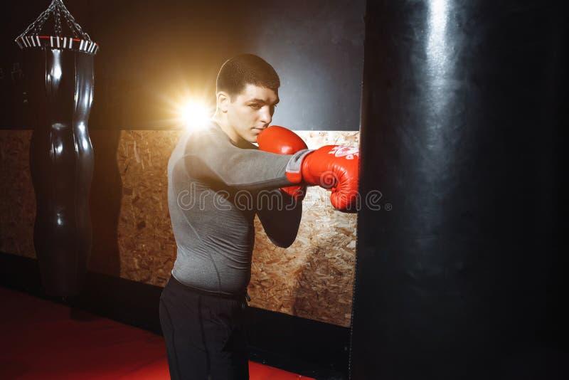 O pugilista bate um saco da velocidade no gym, treinando choque imagem de stock royalty free
