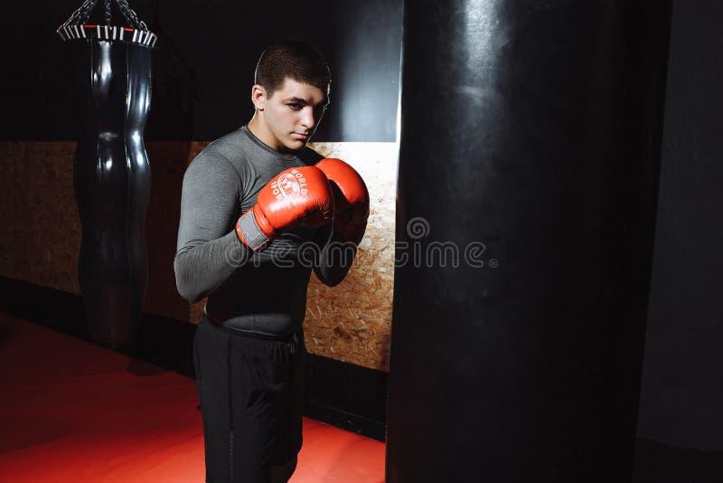 O pugilista bate um saco da velocidade no gym, treinando choque fotos de stock royalty free