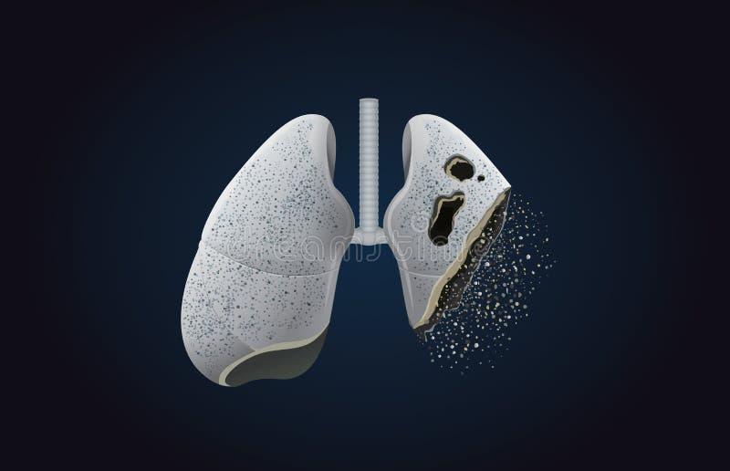 O pulmão cinzento transforma em cinzas ilustração royalty free
