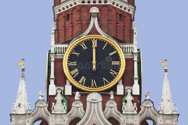 O pulso de disparo chiming da torre de Spasskaya do Kremlin. Moscou imagens de stock royalty free
