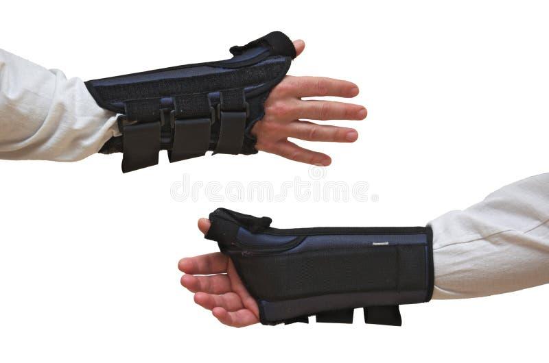 O pulso e o polegar apoiam opiniões da parte traseira da parte dianteira da tala imagem de stock