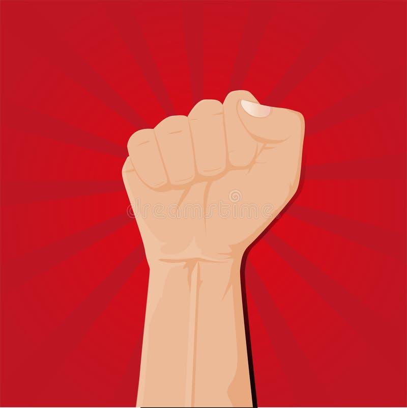 O punho apertado guardou o vetor alto no raio vermelho ilustração stock