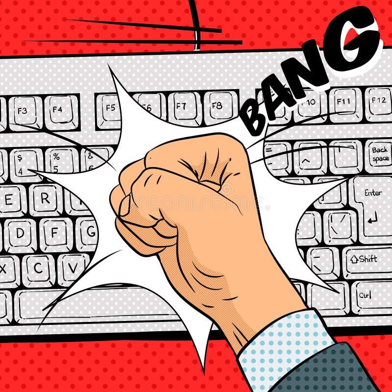 O punho bate o vetor do estilo da banda desenhada do teclado ilustração royalty free