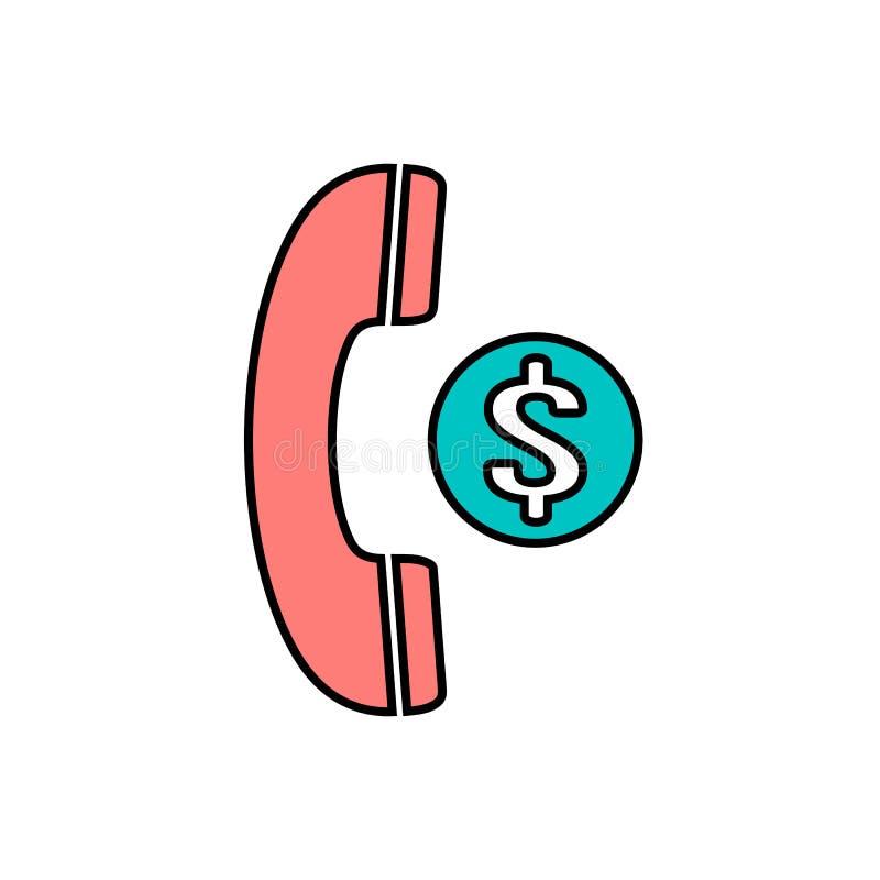 O punho da finança do dólar ajustou o ícone do telefone do telefone do dinheiro ilustração royalty free