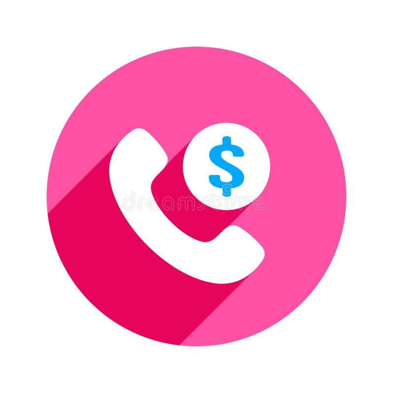 O punho da finança do dólar ajustou o ícone do telefone do telefone do dinheiro ilustração do vetor