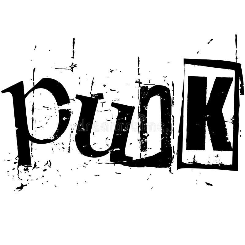 O punk da palavra escrito no estilo do entalhe do grunge ilustração do vetor