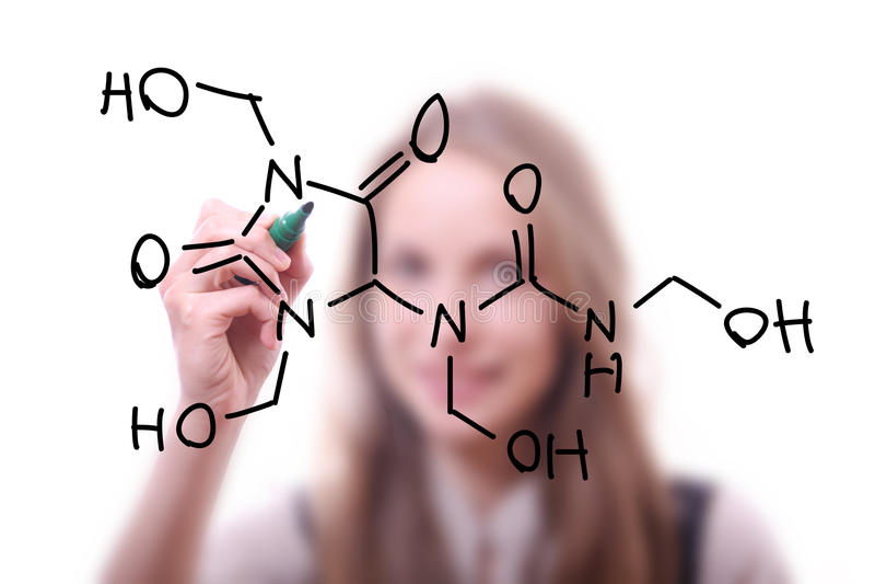 O químico mostra uma estrutura molecular imagens de stock