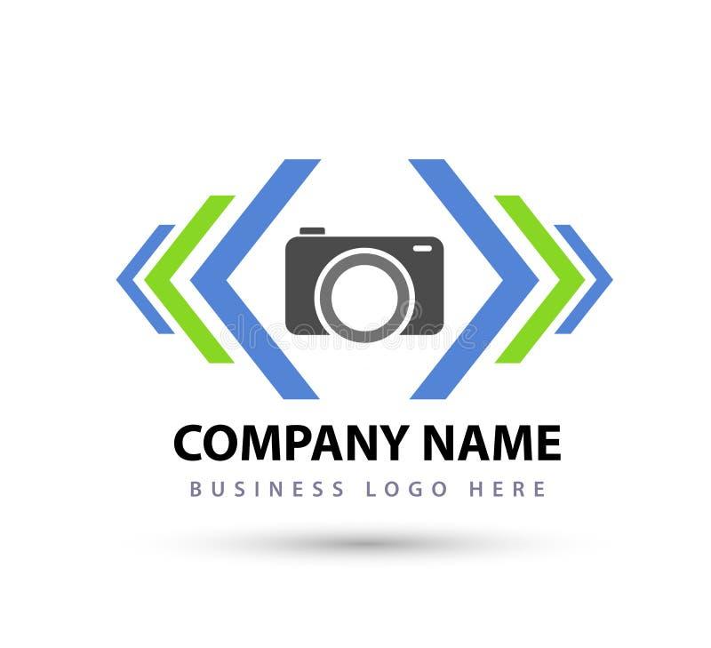 O quadrado abstrato, câmera, seta deu forma ao logotipo novo colorido do negócio para sua empresa ilustração stock