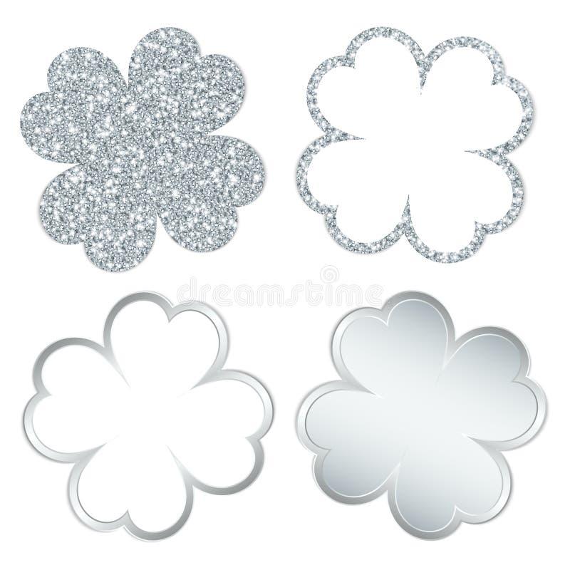 O quadrado ajustou-se de quatro folhas do trevo prata efervescente e brilhando ilustração do vetor
