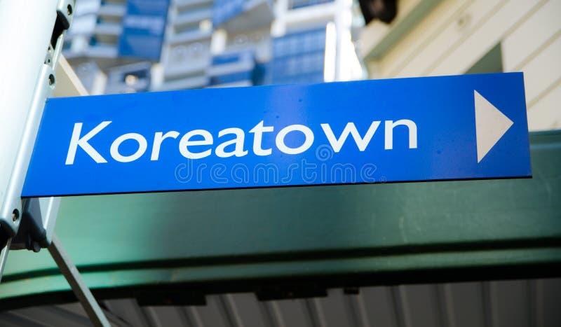 O quadrado azul de Koreatown assina dentro Sydney, Austrália foto de stock