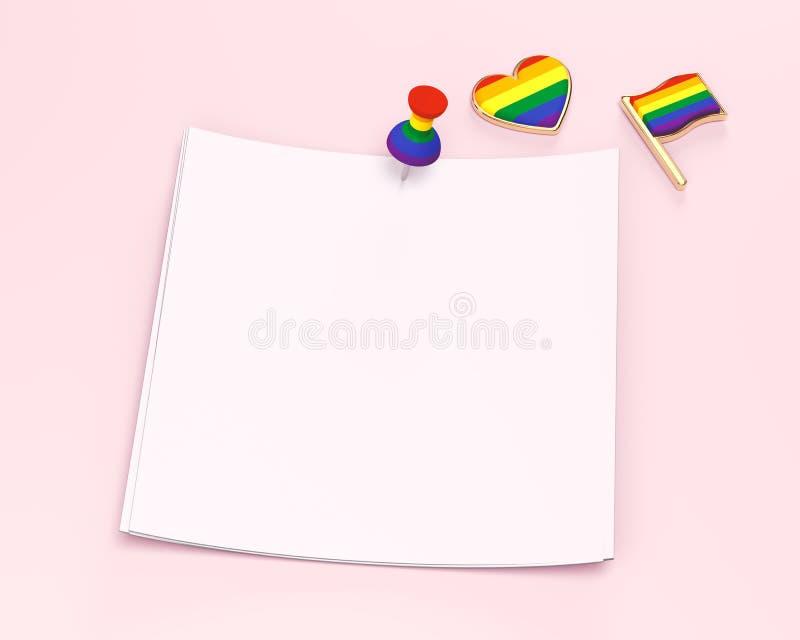 O quadrado de papel vazio com espaço da cópia para seu texto fixado com arco-íris coloriu o pino e a bandeira e o coração do orgu ilustração royalty free