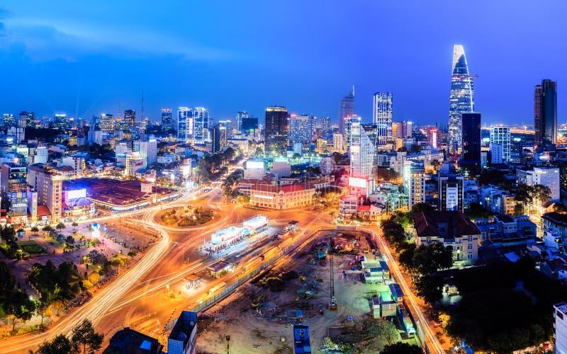O quadrado de Uach Thi Trang e o thanh de ben introduzem no mercado Ho Chi Minh City fotografia de stock