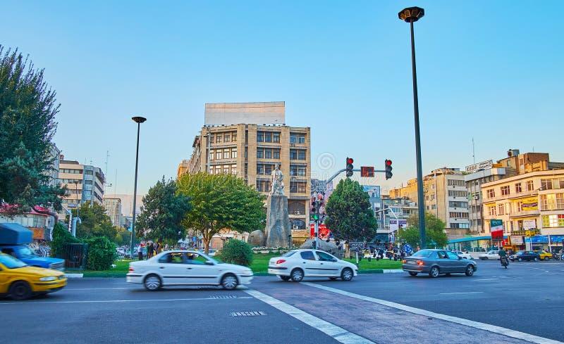 O quadrado ocupado de Ferdowsi, Tehran, Irã imagem de stock royalty free