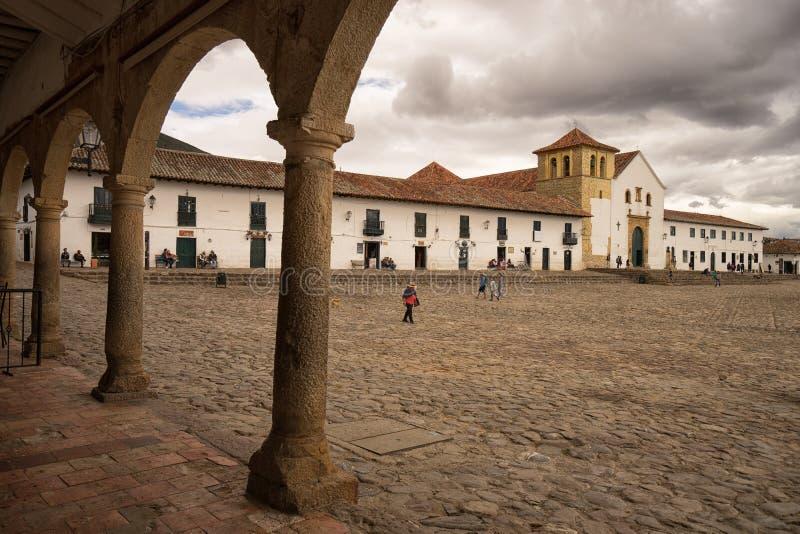 O quadrado principal de Casa de campo de Leyva Colômbia foto de stock