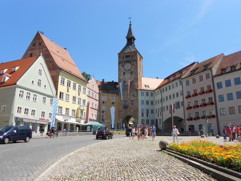 O quadrado principal em Landsberg am Lech, ao longo do Romantische Strasse fotografia de stock