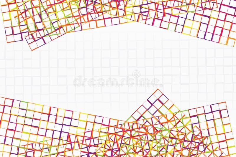 O quadro abstrato da listra colorida e o quadrado dão forma à cruz junto com o espaço no centro foto de stock royalty free