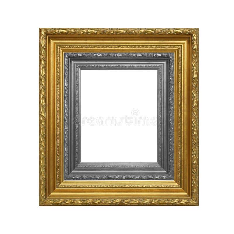 O quadro antigo do cinza e do ouro no fundo branco imagens de stock royalty free