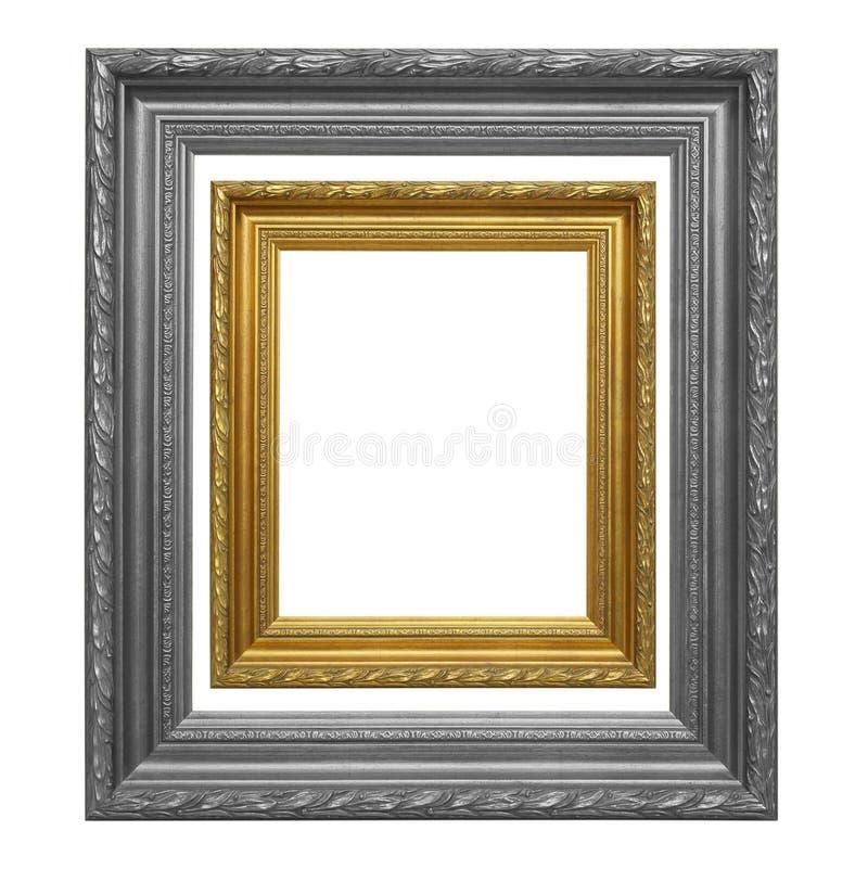 O quadro antigo do ouro e quadro cinzento no fundo branco foto de stock royalty free